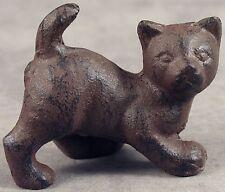 PLAYFUL CAT KITTEN Heavy Cast Iron MINIATURE STATUE PAPERWEIGHT ~Antiqued Brown~
