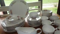 Vintage Fine China Dinnerware set Autumn Fruit by ROYAL TAUNTON s/8 42 pcs 1950s