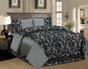 Half Flock Damask 4Pcs Complete Bedding Set Duvet Cover Set Or Matching Curtains