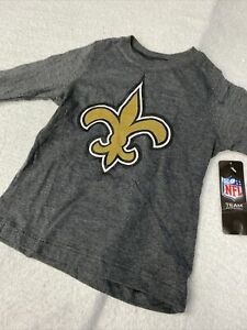 🌴🏈 Toddler Boys New Orleans Saints NFL Football Gray Short Sleeve Ls 5t 🌴
