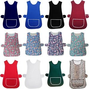 New Ladies Cleaning Kitchen Catering Front Pocket Washable Overall Tabard Apron