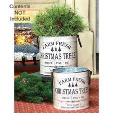 New Rustic Farmhouse 2 Farm Fresh White Christmas Tree Bucket Metal Basket Pail