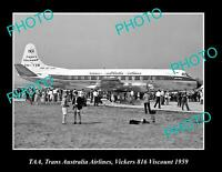 OLD POSTCARD SIZE PHOTO OF TAA AVIATION VICKERS VISCOUNT c1969