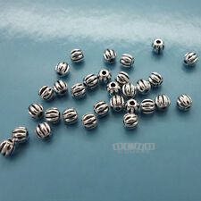 30 PC Sterling Silver Small Pumpkin Round Bead Spacer 3mm #33095