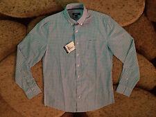 Johnnie-O Blue Mist & White Checkered Tweener Button Small Shirt NWT MSRP $98.00