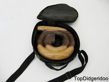 Spiral Didgeridoo +Bag Unique Hand Carved Sonokeling Hardwood Travel Compact Box