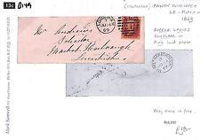 B149 1869 GB PENNY PLATES Superb PINK Ladies Envelope London Market Harborough