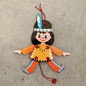 Deutscher Holz-Hampelmann ALT 1970er16cm Kleiner Indianer Große Augen Figur RAR