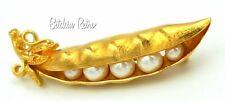 Trifari Pea Pod Brooch, Faux Pearl Peas Tucked In A Gold Tone Pod, Vintage