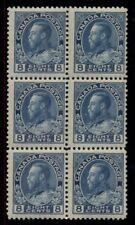 CANADA #115, 8¢ blue, Block of 6, og, NH, VF, Scott $555.00