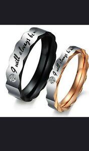 Couple Rings Titanium Steel Women (7) Mens (10)  Wedding Promise Band Rings