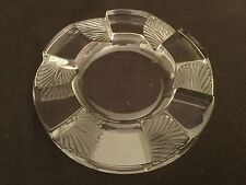 LALIQUE CRYSTAL FRANCE CUBA FROSTED CLEAR CIGAR ASHTRAY SPOON REST