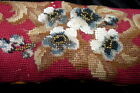Antique c.1850 Small Tie On Beaded Needlepoint Tapestry Pillow