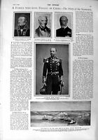 Original Old Antique Print 1900 Seymour Taku Forts Ships War Newgate Prison