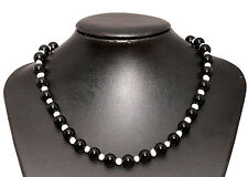 Onyx Stone & Freshwater Pearl Necklace Choker Length-45cm Hook Extension Chain