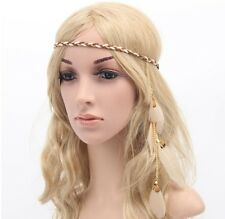 Feather leaf bijoux de seins bandeau hairband beige boho hippie party festival plage uk