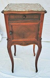 Antique French Louis XV Marble Top Walnut Night Stand / End Side Table