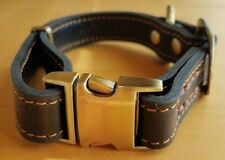 Dark Brown Dog Collar with Bronze Side Clasp and Orange Stitch