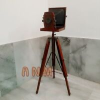 Antique Vintage Style Folding Camera With Wooden Tripod Home Decorative Item