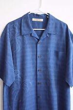 Tommy Bahama Aloha Camp Shirt 100% Silk Palm Tree Blue Hawaiian Size Large