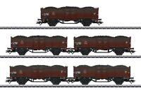 Märklin 46055 Fünf Hochbordwagen zum Transport von Kohle u. Koks DSB  H0 AC Neu