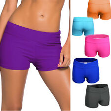Women's Full Coverage Swim Shorts Solid Color Wide Band Swimwear Stretchy S-2XL