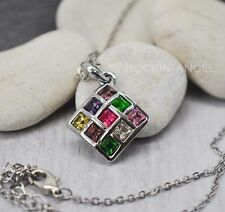 18K White Gold Plated Pendant made with Swarovski Elements Crystals Ladies Gift