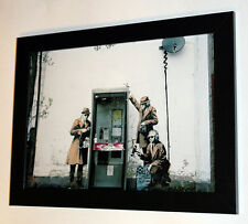 Banksy Three figures in search framed 8X12 canvas print graffiti reproduction