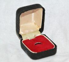 Vintage Black Covered Metal Hinged Jewellery Box Ring Satin Red Velvet