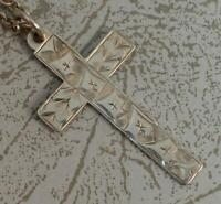"1910 Edwardian Solid Silver Floral Ivy Leaf Engraved Cross Pendant & 18"" Chain"