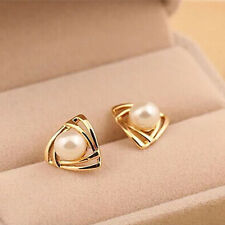 Women triangle Gold plated White Pearl Stud Earrings Jewelry Beauty Gift CB