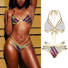 US Sexy Women Bikini Set Off Shoulder Floral Push Up Swimsuit Swimwear Beachwear