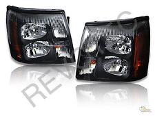 Black Headlights Head Lamps LH+RH For 03-06 Cadillac Escalade Base EXT HID Model