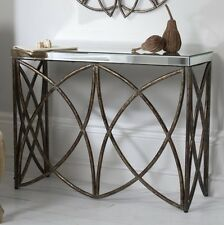 Stunning Console Table Industrial Style Hallway Large Mirrored Glass Side Metal