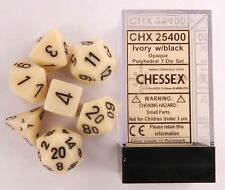 Chessex Dice: Polyhedral 7-Die Opaque Dice Set - Ivory with Black CHX 25400