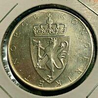 1964 NORWAY SILVER 10 KRONOR HIGH GRADE CROWN COIN