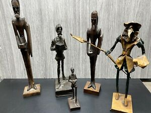 Mid Century Don Quixote LOT 6 Hand Carved Wood Statue Figures Vintage WONDERFUL