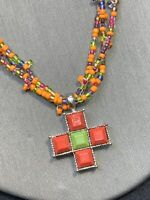 """Necklace Bohemian Maltese cross  Seed Bead Pendant Necklace 16"""" Bright Color"""