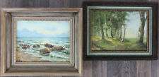 Vintage c.1950's 2 (pair) Impressionist Oil/Panel Illegibly Signed Landscapes