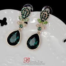Boucles d`Oreilles Clous Vert Goutte Crystal émeraude Class Vintage Elegant AA 1