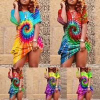 Plus Size Womens Boho Tie Dye Summer Dress Ladies Beach Casual Loose Sundress UK