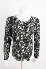 Talbots Women's Cardigan Sweater M Black White Floral Pure Merino Wool NWT $99