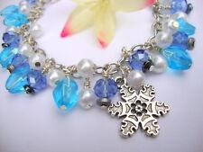 Blue Swarovski Crystal White Pearl Silver Snowflake Charm Style Bracelet Frozen