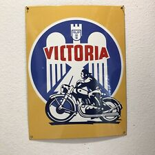 VINTAGE VICTORIA MOTORCYCLE PORCELAIN GAS SERVICE CONVEX GERMAN PUMP SIGN USED