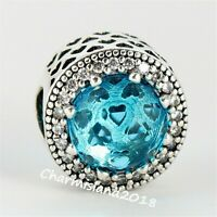 Authentic Pandora 791725 Silver 925 Lake Blue Radiant Hearts Clear CZ Charm #Z