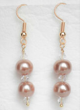 Champagne gold 2 x 8mm glass pearl and clear bead  5cm drop