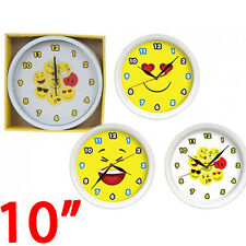 "10"" EMOJI CLOCK FUNNY FACES EMOTIONS ICON NOVELTY KITCHEN BEDROOM FUN KIDS NEW"