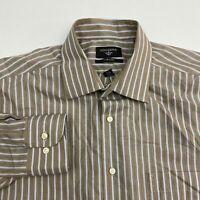 Dockers Button Up Dress Shirt Men's 15-15.5 Long Sleeve Brown White Blue Striped