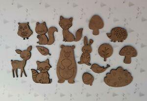 Wooden MDF Woodland Animal shapes craft Shapes x15 Embellishments