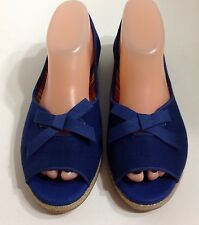 NWOB UGG AUSTRALIA MARLEIGH OPEN TOE CANVAS FLATS 1011185 BLUE SIZE 8 MSRP: $75